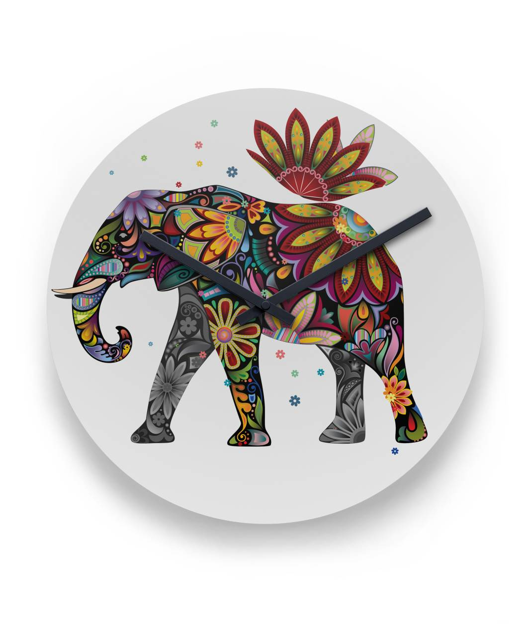 "Colorful Elephant Wall Clock 11"" Round Wall Clock"