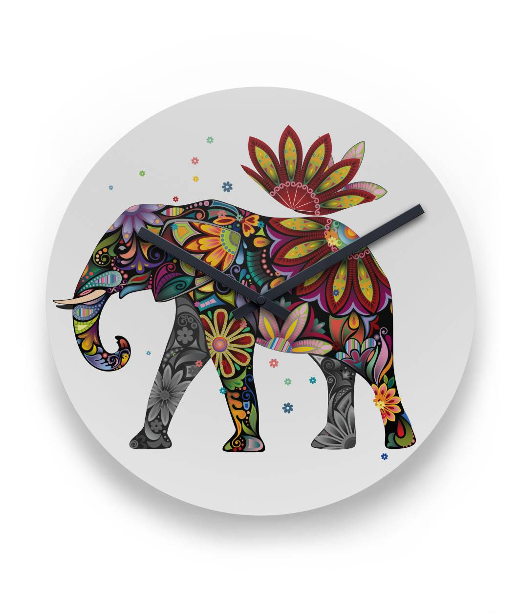 "Floral Elephant Wall Clock 11"" Round Wall Clock"