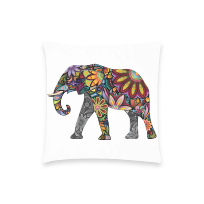 Colorful Elephant Pillow - Soft White