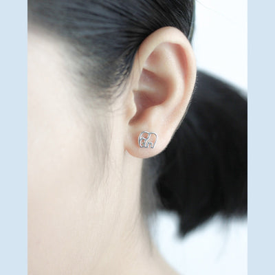 925 Sterling Silver Tiny Elephant Stud Earrings