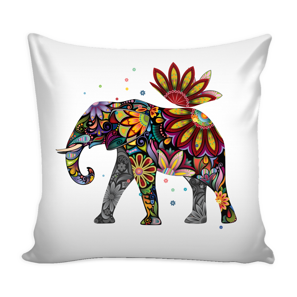 Floral Elephant Pillow Case, White Background
