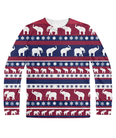 Elephant Christmas Long Sleeve Shirt Sublimation Long Sleeve