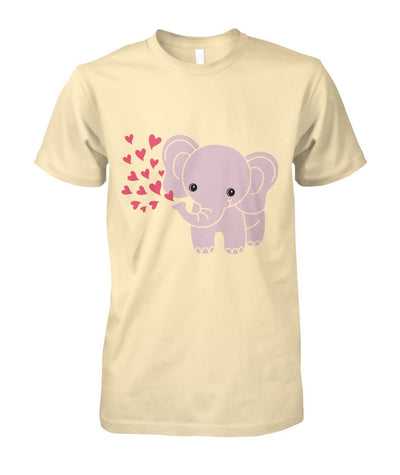 Baby Elephant Shirt with Red Hearts