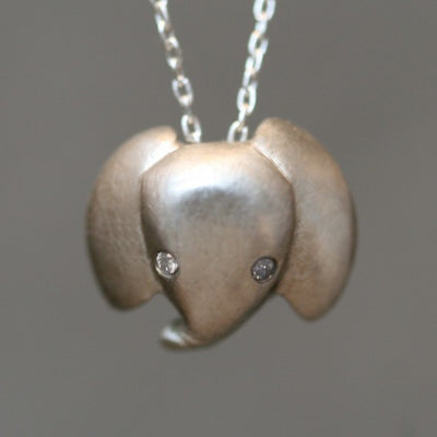 Baby Elephant Necklace in Sterling Silver with Diamonds
