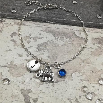 Personalized Elephant Bracelet with initial and Birthstone