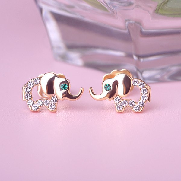 Jewelry - 18K Gold/Silver Elephant Stud Earrings