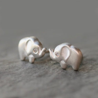 Jewelry - Elephant Stud Earrings In Sterling Silver With Diamonds