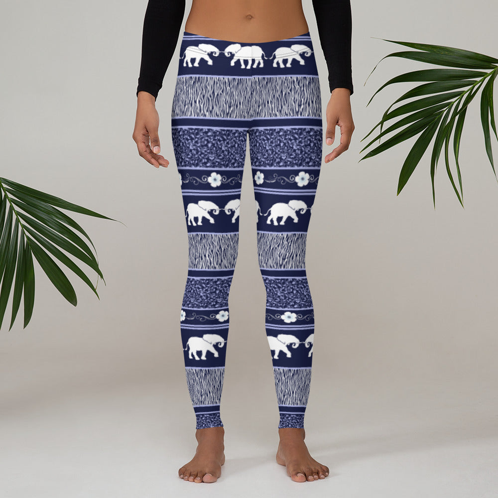 Classic Elephant Pattern Leggings - Navy Blue