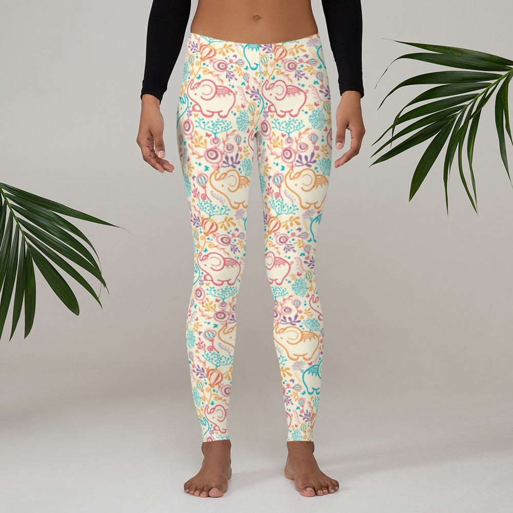 Flowery Baby Elephants Leggings