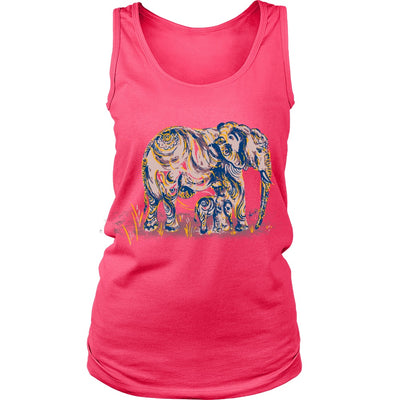 T-shirt - Womens Elephant Mom And Baby Tank