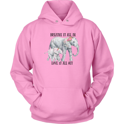 Elephant Mom and Baby Love Hoodie