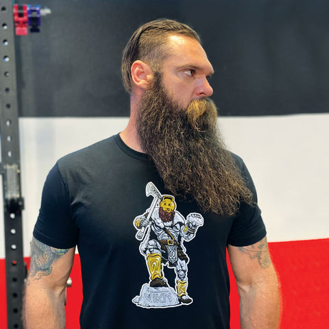 black mens tee with viking warrior by kettlebell gains and vikn chalk