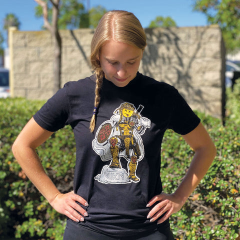 black tee with viking shield maiden by kettlebell gains and vikn chalk