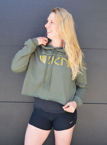 Cropped Fleece Hoodie (Green)