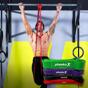 Pull Up Assist Bands by Pheeko | Set of 4 or Single Band | Also for Powerlifting & Crossfit