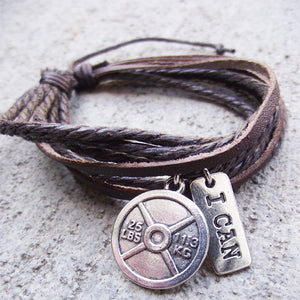 Leather Weight Plate Charm Bracelet