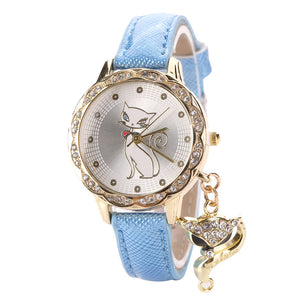 Cute Cat WristWatch for Women. Leather Strap & Decorative Finish