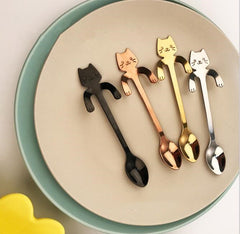 Stainless Steel Cat Spoons for Ice Cream, Dessert, Coffee, Cappuccino & Tea