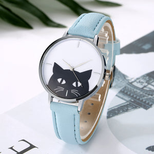 Luxury Black Cat WristWatch for Women. Stainless Steel & Leather Strap