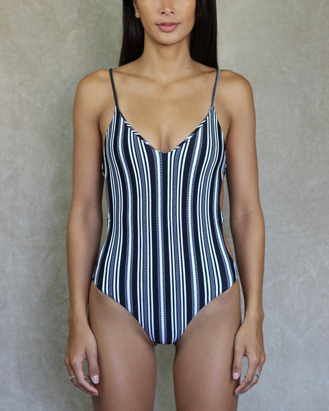 Striped one piece swimsuit