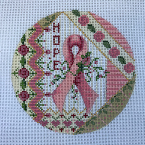 """Hope"" Breast Cancer round ornament needlepoint canvas from Kelly Clark Designs"