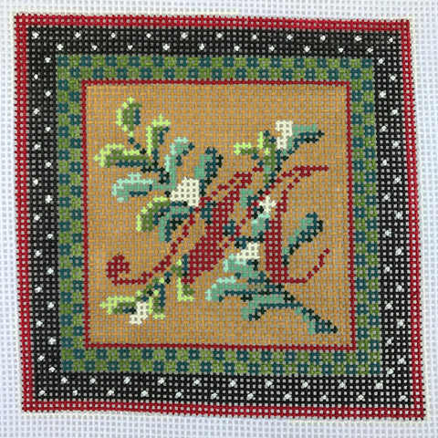 """Merry Christmas"" Blocks, Letter M needlepoint canvas from Kelly Clark Designs"