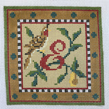 """Merry Christmas"" Blocks, Letter E needlepoint canvas from Kelly Clark Designs"