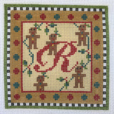 """Merry Christmas"" Blocks, Letter R needlepoint canvas from Kelly Clark Designs"