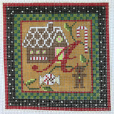 """Merry Christmas"" Blocks, Letter A needlepoint canvas from Kelly Clark Designs"
