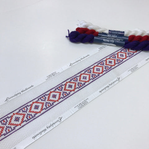 Purple & Red Geometric Dog Collar needlepoint canvas from Phideaux Designs