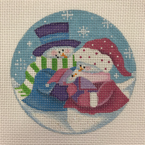 Snow Parents with Baby Girl needlepoint canvas from Pepperberry Design