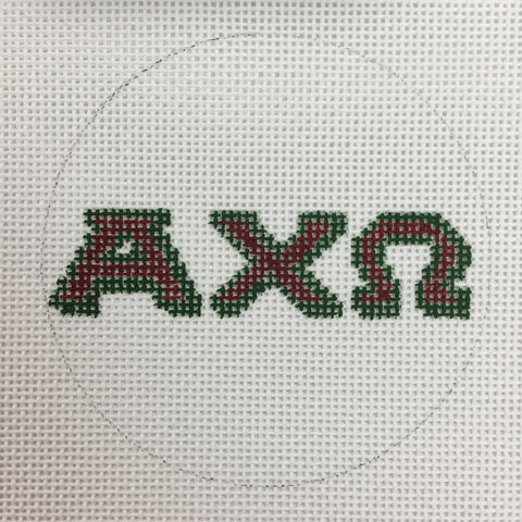 Alpha Chi Omega Luggage Tag / Ornament needlepoint canvas