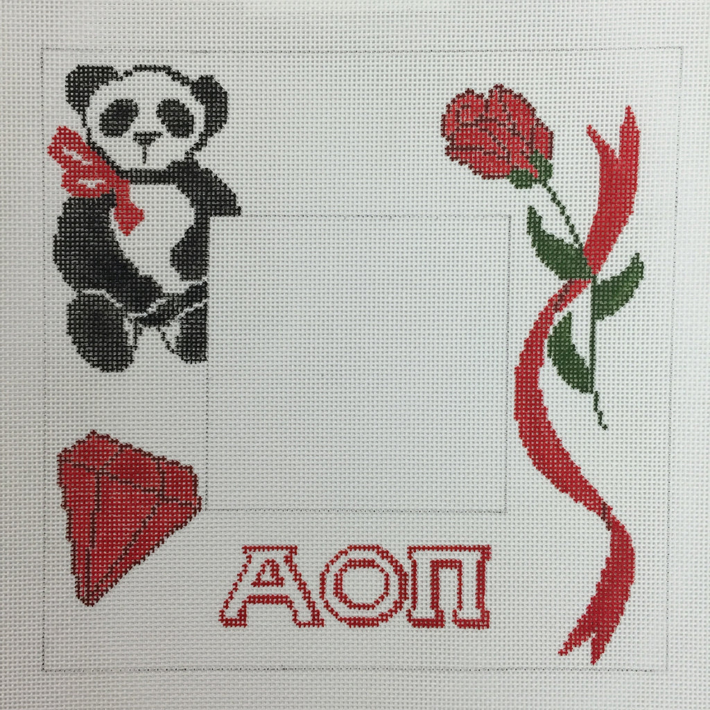 Alpha Omicron Pi Picture Frame needlepoint canvas