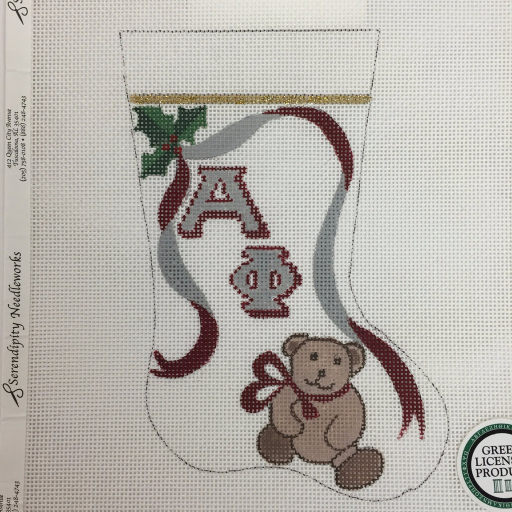 Alpha Phi Mini Stocking needlepoint canvas