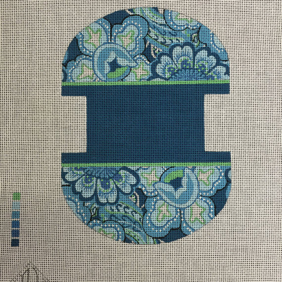 Light Green and Blue Clam Shell needlepoint canvas by DJ Designs