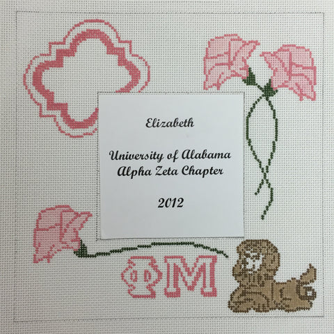 Phi Mu Picture Frame needlepoint canvas