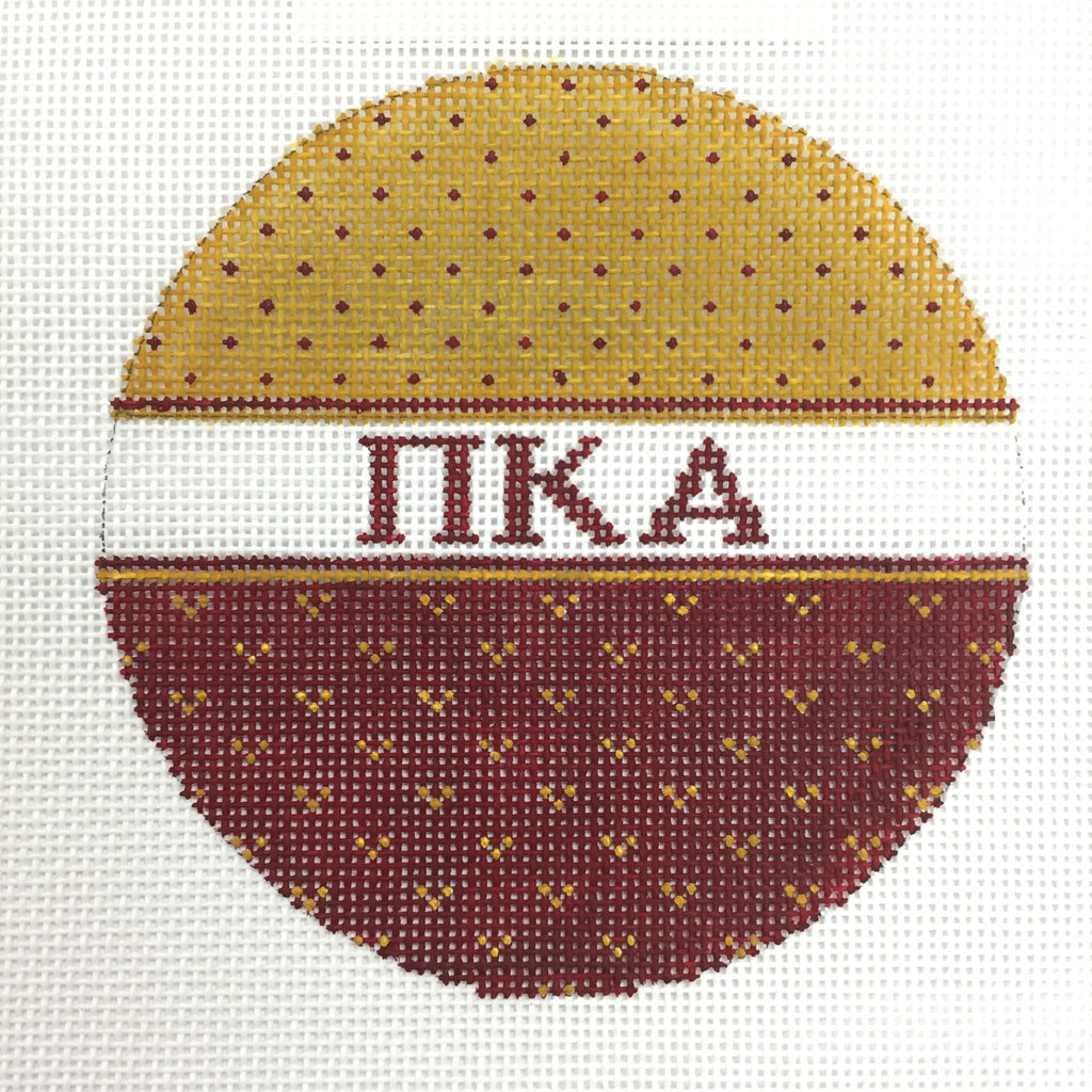 Pi Kappa Alpha Round Ornament needlepoint canvas by Needle Graphics Designs