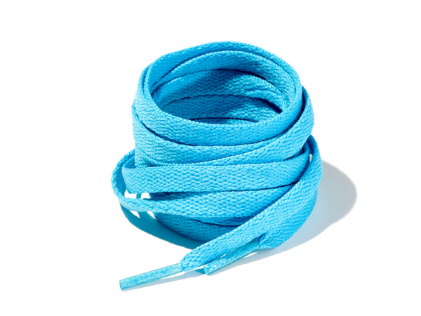 Aqua Blue 8mm Flat Solid Colour Laces