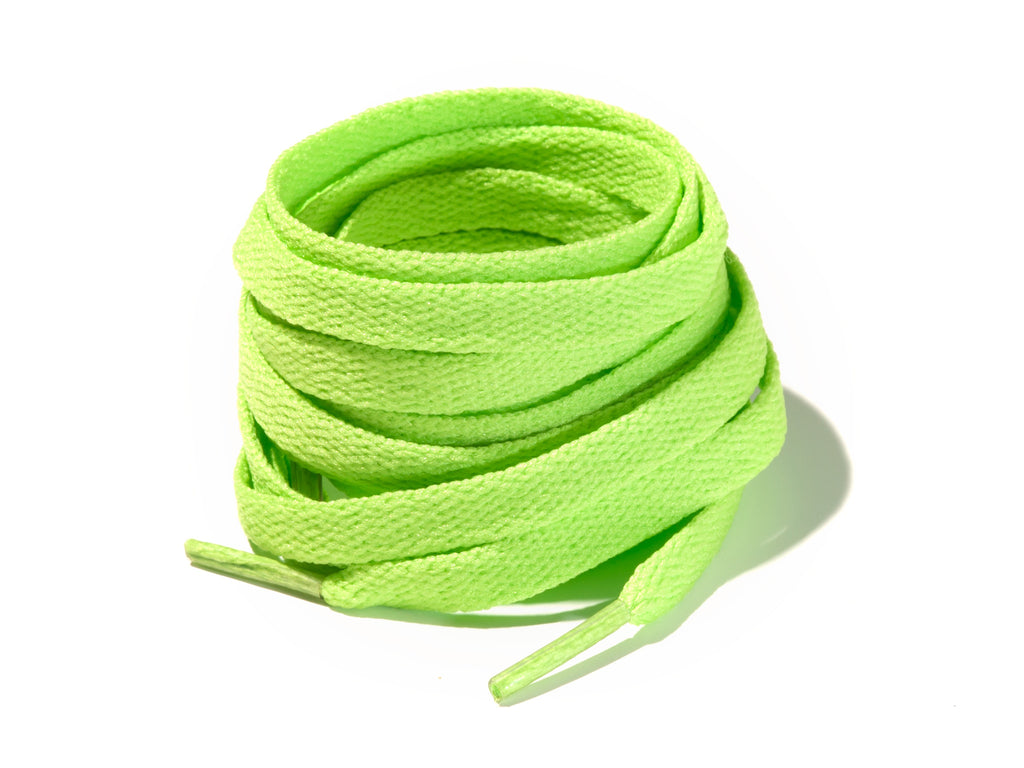 Lime Green 8mm Flat Solid Colour Laces