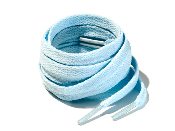 Light Blue 8mm Flat Solid Colour Laces