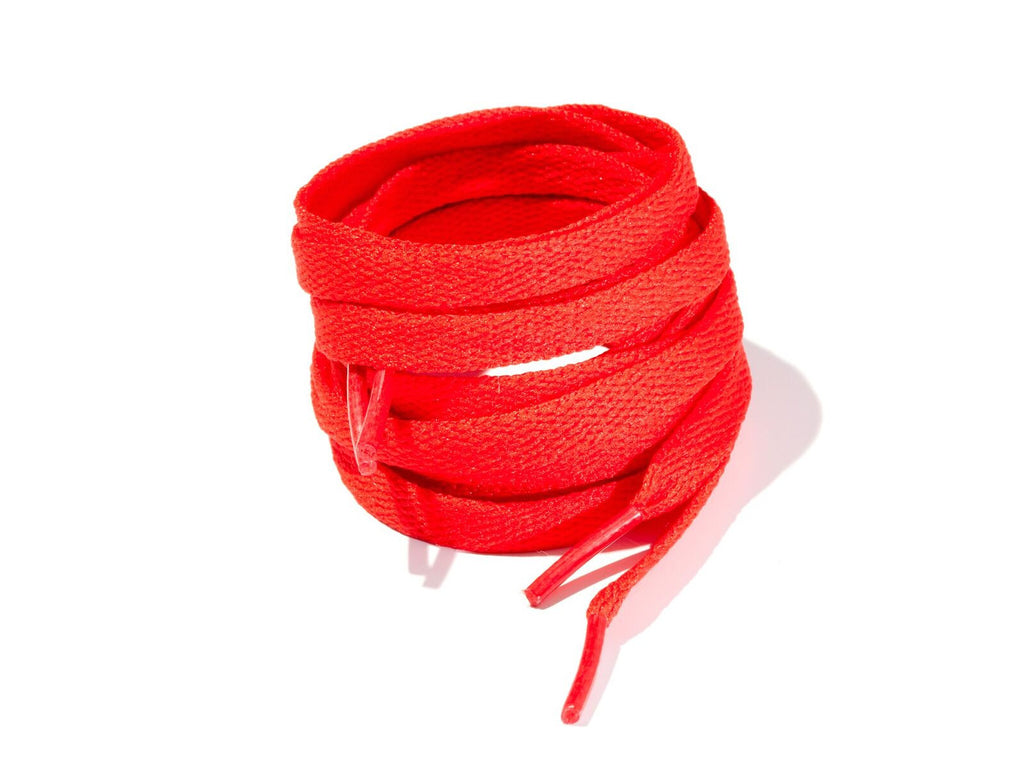 Red 8mm Flat Solid Colour Laces