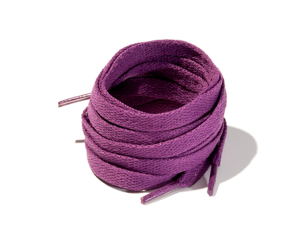 Dark Purple 8mm Flat Solid Colour Laces