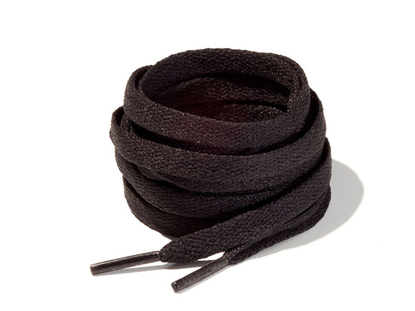 Black 8mm Flat Solid Colour Laces