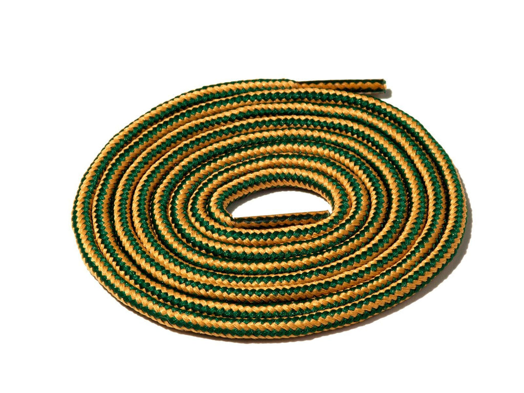 Green & Gold Striped Rope Laces Lace Supply Co