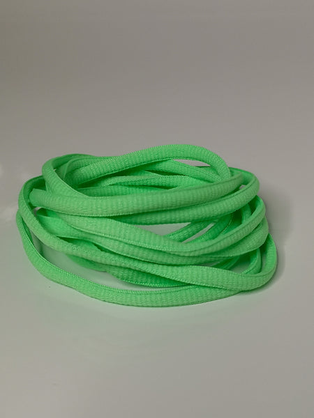 Apple Green Oval Solid Colour Laces