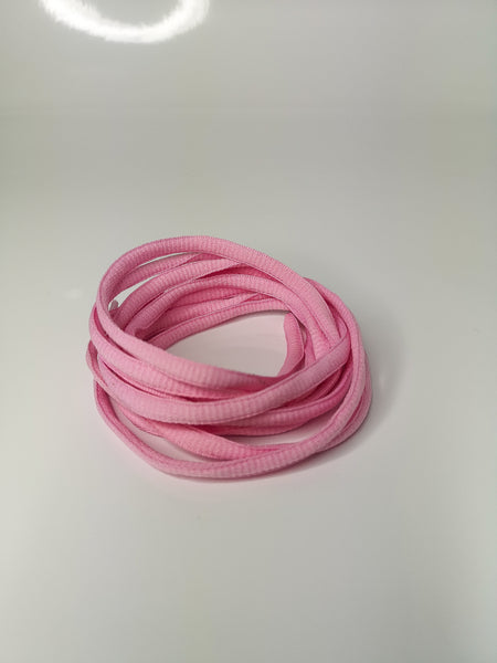 Candy Pink Oval Solid Colour Laces