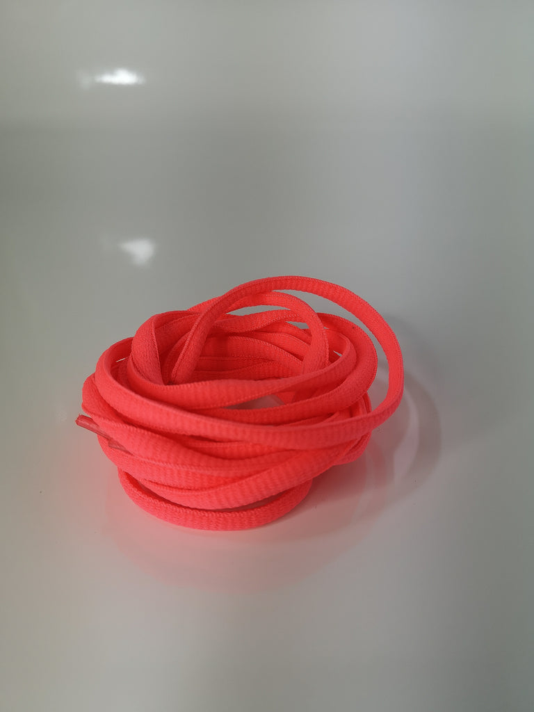 Neon Pink Oval Solid Colour Laces