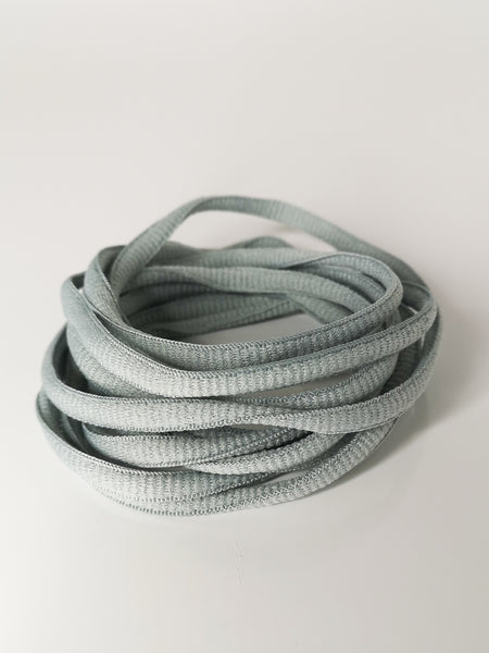 Cool Grey Oval Solid Colour Laces