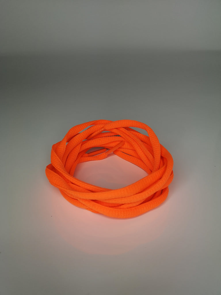 Neon Orange Oval Solid Colour Laces