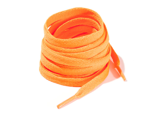 Neon Orange 8mm Flat Solid Colour Laces